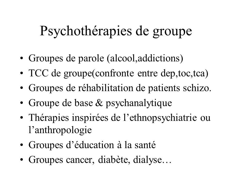 Psychothérapies de groupe Groupes de parole (alcool,addictions) TCC de groupe(confronte entre dep,toc,tca) Groupes de réhabilitation de patients schiz