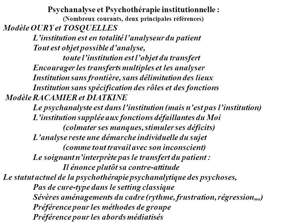 Psychanalyse et Psychothérapie institutionnelle : (Nombreux courants, deux principales références) Modèle OURY et TOSQUELLES Linstitution est en total
