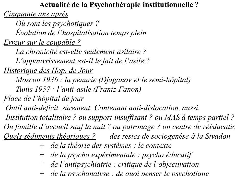 Actualité de la Psychothérapie institutionnelle ? Cinquante ans après Où sont les psychotiques ? Évolution de lhospitalisation temps plein Erreur sur