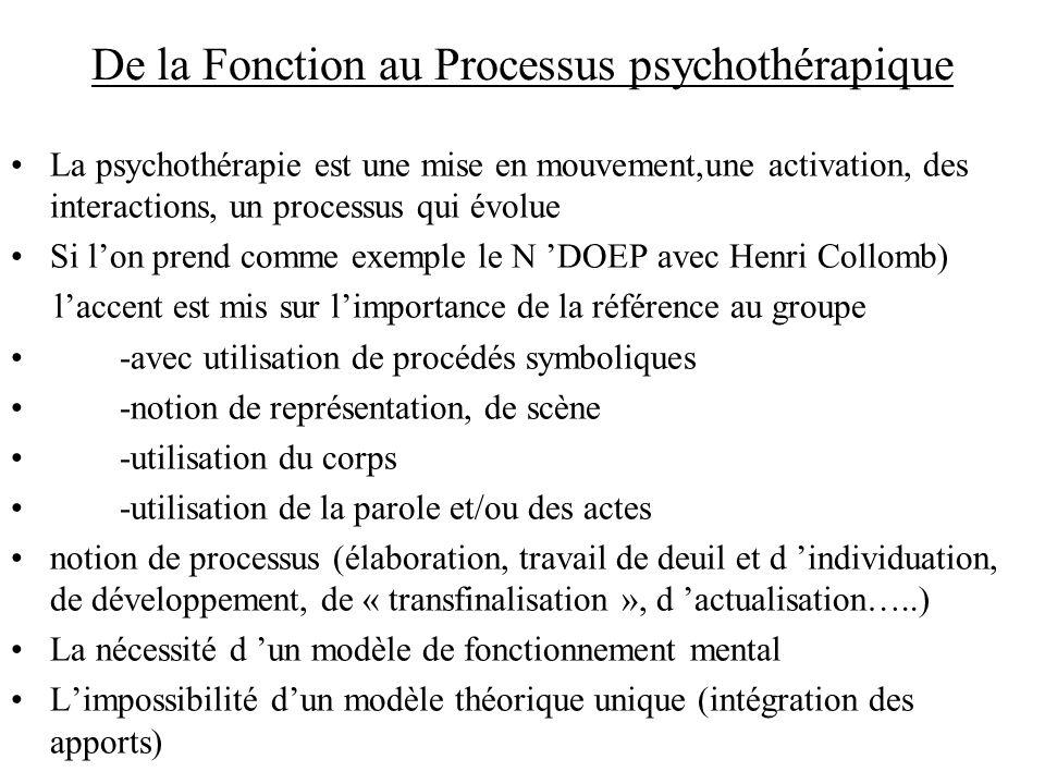 De la Fonction au Processus psychothérapique La psychothérapie est une mise en mouvement,une activation, des interactions, un processus qui évolue Si