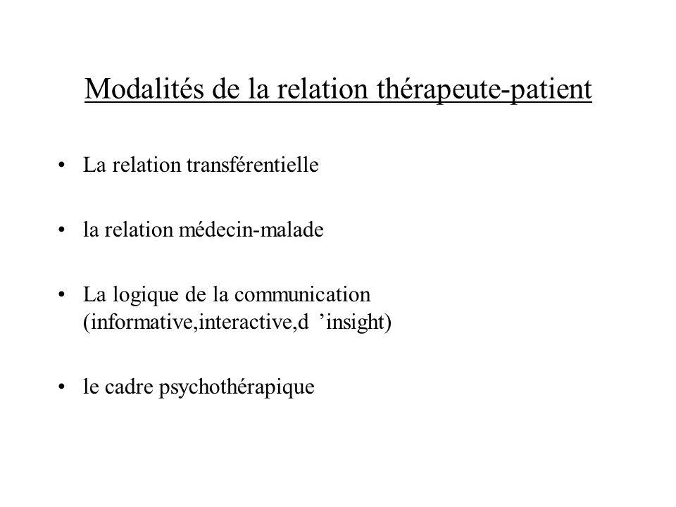 Modalités de la relation thérapeute-patient La relation transférentielle la relation médecin-malade La logique de la communication (informative,intera