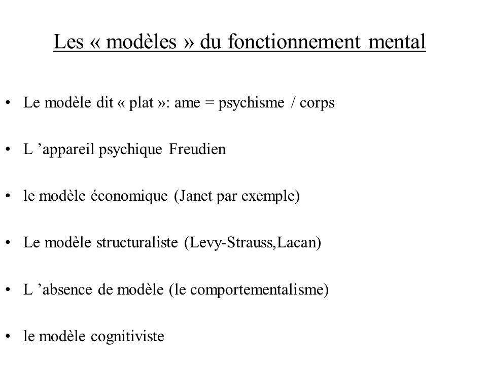 Les « modèles » du fonctionnement mental Le modèle dit « plat »: ame = psychisme / corps L appareil psychique Freudien le modèle économique (Janet par