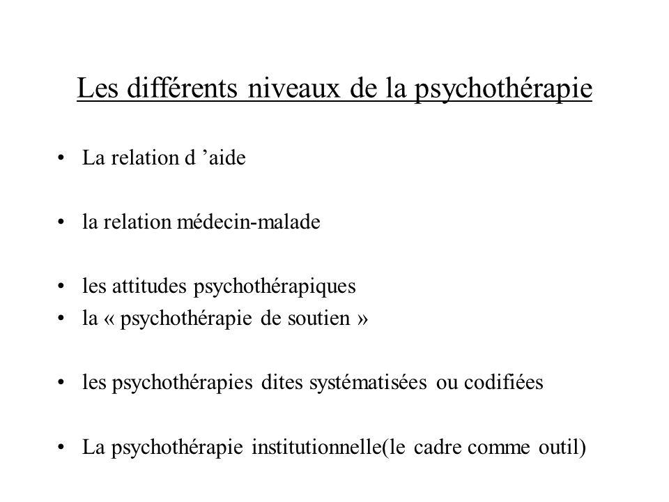 Les différents niveaux de la psychothérapie La relation d aide la relation médecin-malade les attitudes psychothérapiques la « psychothérapie de souti
