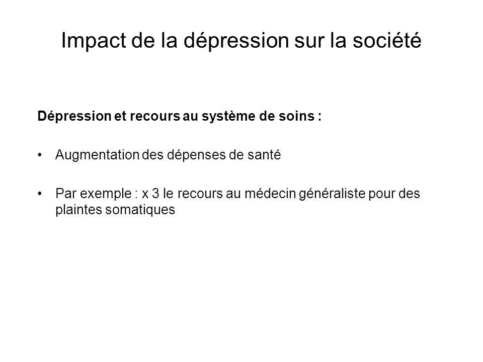 Impact de la dépression sur la société Dépression et recours au système de soins : Augmentation des dépenses de santé Par exemple : x 3 le recours au