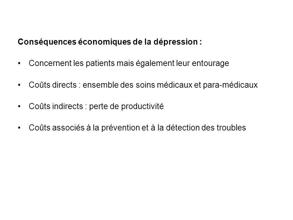 Conséquences économiques de la dépression : Concernent les patients mais également leur entourage Coûts directs : ensemble des soins médicaux et para-