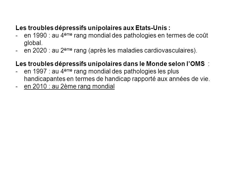 Les troubles dépressifs unipolaires aux Etats-Unis : -en 1990 : au 4 ème rang mondial des pathologies en termes de coût global. -en 2020 : au 2 ème ra