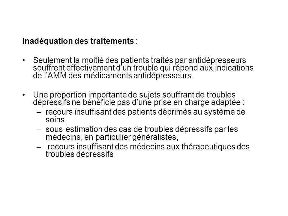 Inadéquation des traitements : Seulement la moitié des patients traités par antidépresseurs souffrent effectivement dun trouble qui répond aux indicat