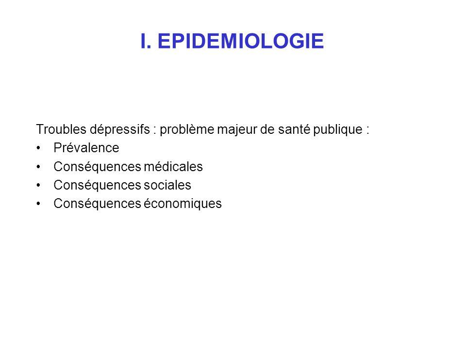 I. EPIDEMIOLOGIE Troubles dépressifs : problème majeur de santé publique : Prévalence Conséquences médicales Conséquences sociales Conséquences économ