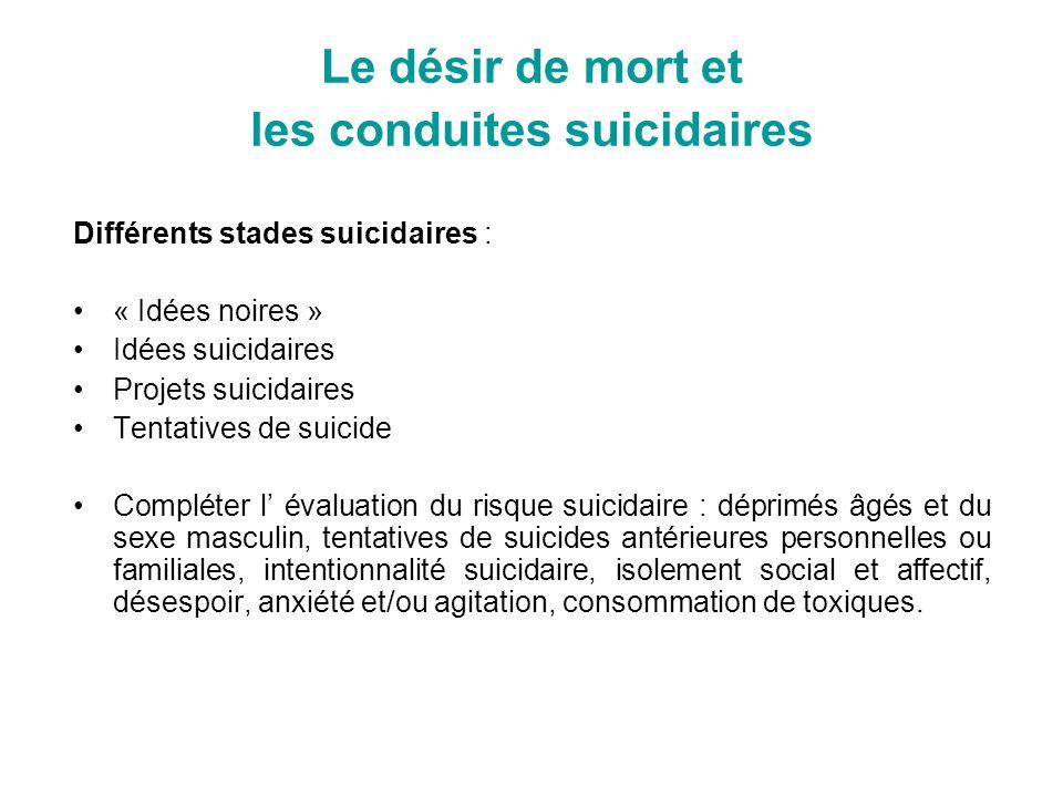 Le désir de mort et les conduites suicidaires Différents stades suicidaires : « Idées noires » Idées suicidaires Projets suicidaires Tentatives de sui