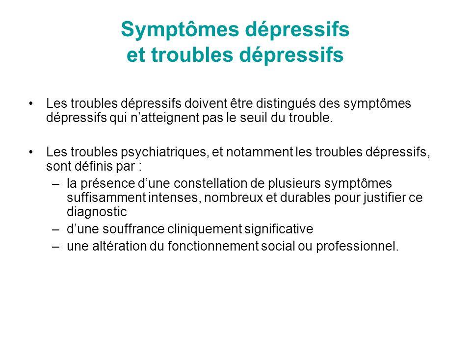 Symptômes dépressifs et troubles dépressifs Les troubles dépressifs doivent être distingués des symptômes dépressifs qui natteignent pas le seuil du t