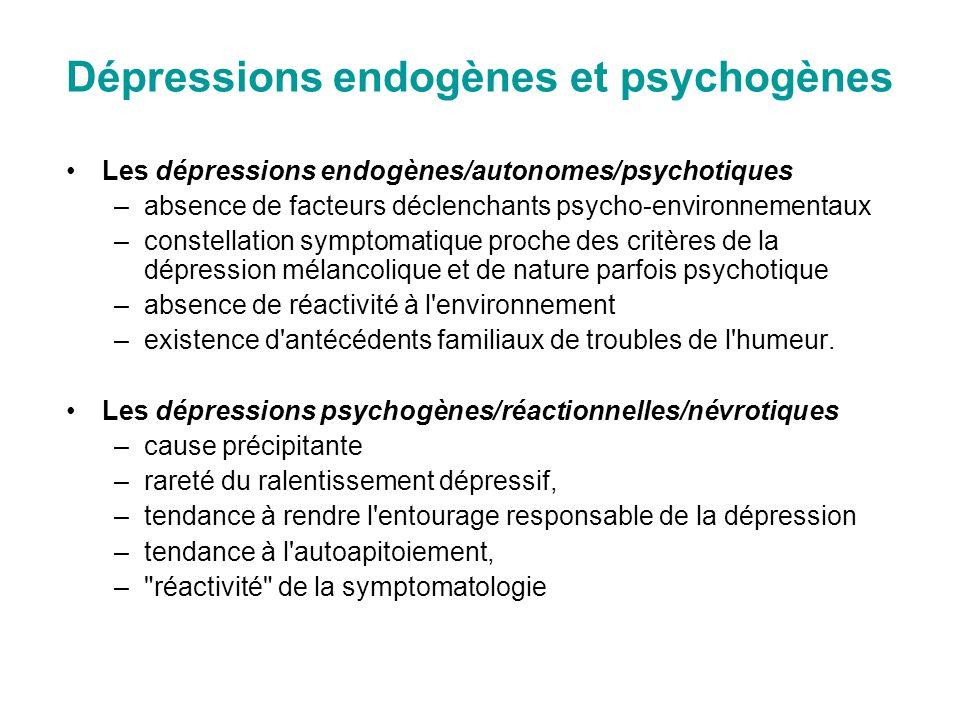 Dépressions endogènes et psychogènes Les dépressions endogènes/autonomes/psychotiques –absence de facteurs déclenchants psycho-environnementaux –const