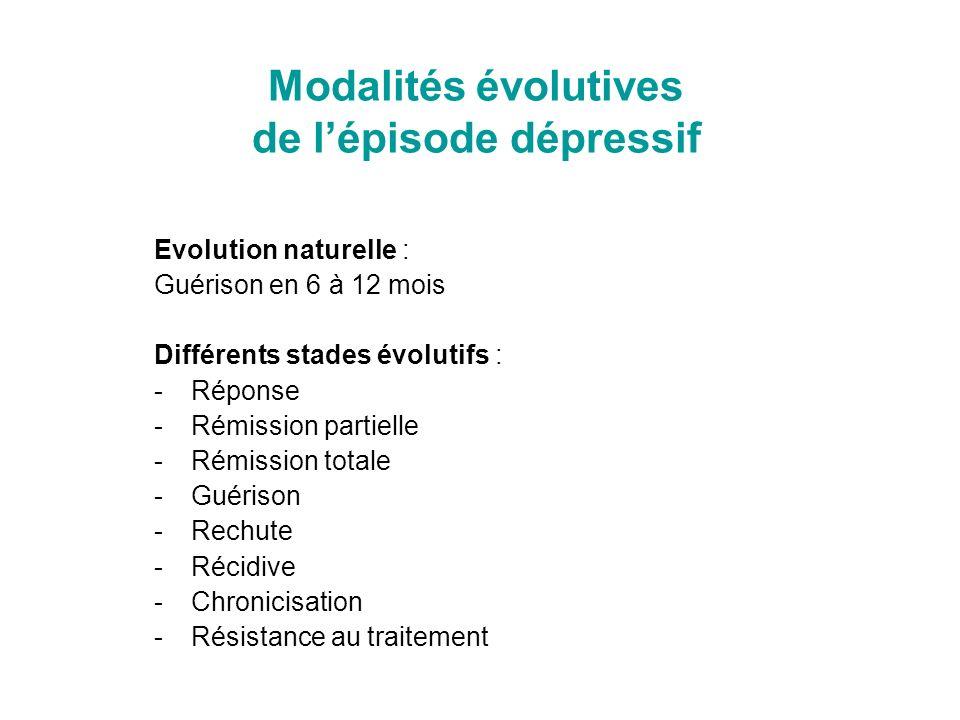 Modalités évolutives de lépisode dépressif Evolution naturelle : Guérison en 6 à 12 mois Différents stades évolutifs : -Réponse -Rémission partielle -
