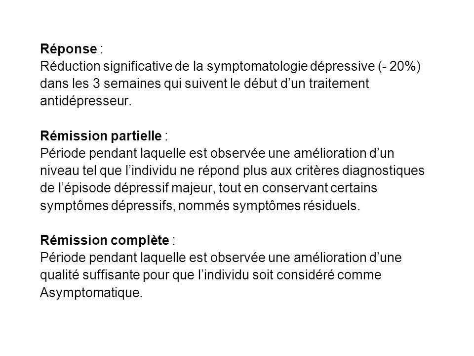 Réponse : Réduction significative de la symptomatologie dépressive (- 20%) dans les 3 semaines qui suivent le début dun traitement antidépresseur. Rém