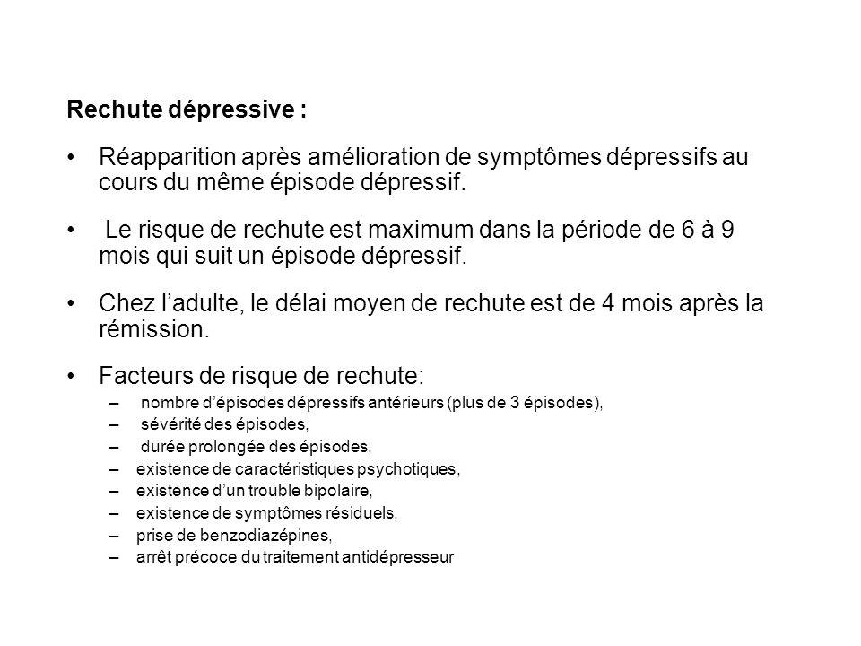 Rechute dépressive : Réapparition après amélioration de symptômes dépressifs au cours du même épisode dépressif. Le risque de rechute est maximum dans