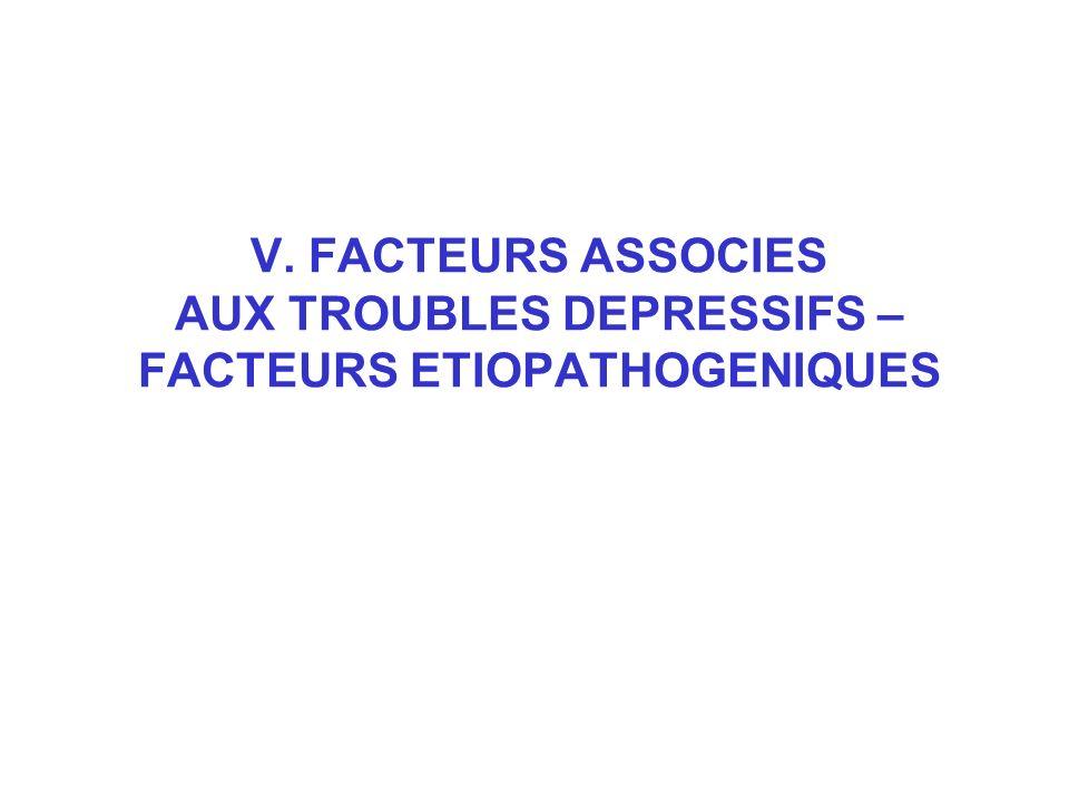V. FACTEURS ASSOCIES AUX TROUBLES DEPRESSIFS – FACTEURS ETIOPATHOGENIQUES