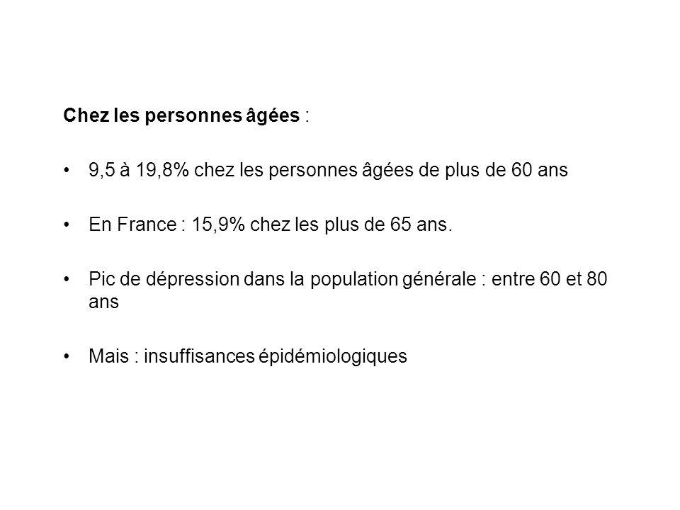 Chez les personnes âgées : 9,5 à 19,8% chez les personnes âgées de plus de 60 ans En France : 15,9% chez les plus de 65 ans. Pic de dépression dans la
