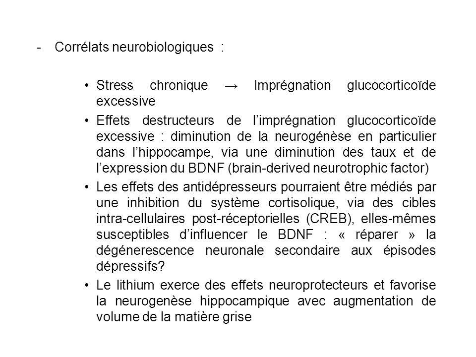 -Corrélats neurobiologiques : Stress chronique Imprégnation glucocorticoïde excessive Effets destructeurs de limprégnation glucocorticoïde excessive :