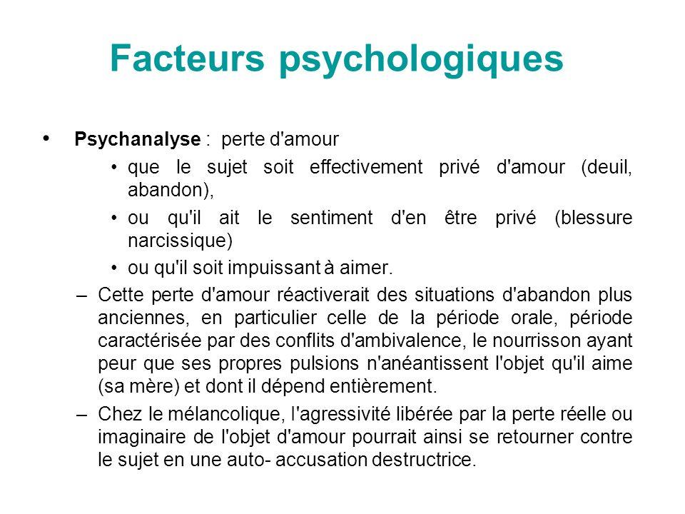 Facteurs psychologiques Psychanalyse : perte d'amour que le sujet soit effectivement privé d'amour (deuil, abandon), ou qu'il ait le sentiment d'en êt