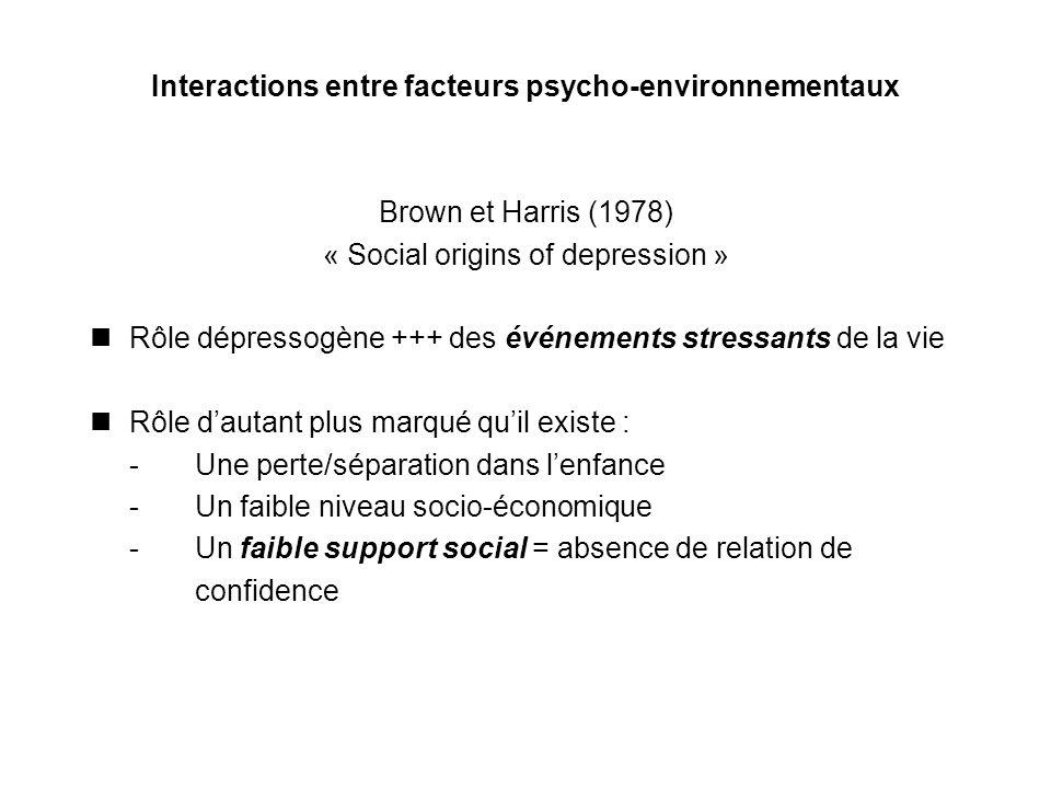 Interactions entre facteurs psycho-environnementaux Brown et Harris (1978) « Social origins of depression » Rôle dépressogène +++ des événements stres