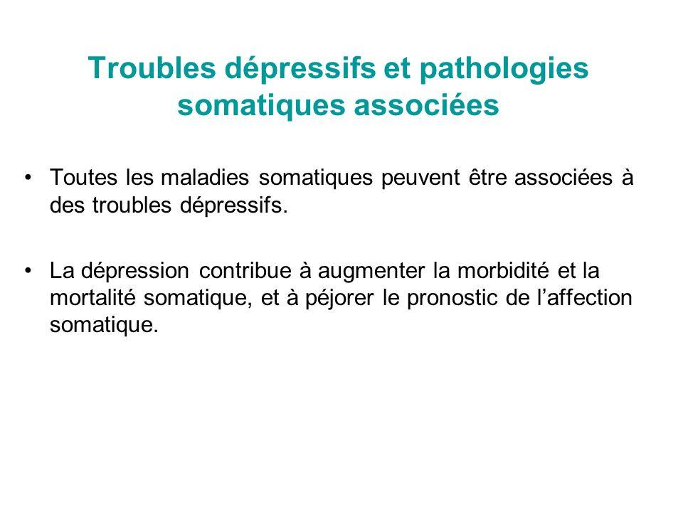 Troubles dépressifs et pathologies somatiques associées Toutes les maladies somatiques peuvent être associées à des troubles dépressifs. La dépression