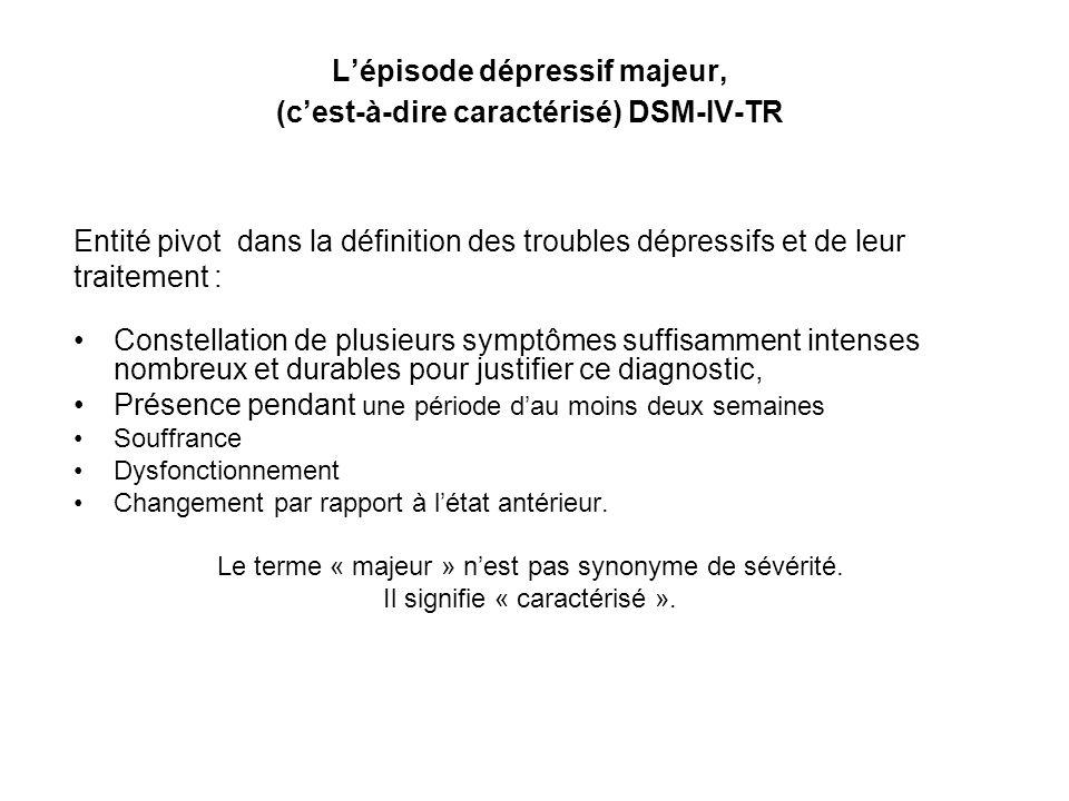 Lépisode dépressif majeur, (cest-à-dire caractérisé) DSM-IV-TR Entité pivot dans la définition des troubles dépressifs et de leur traitement : Constel