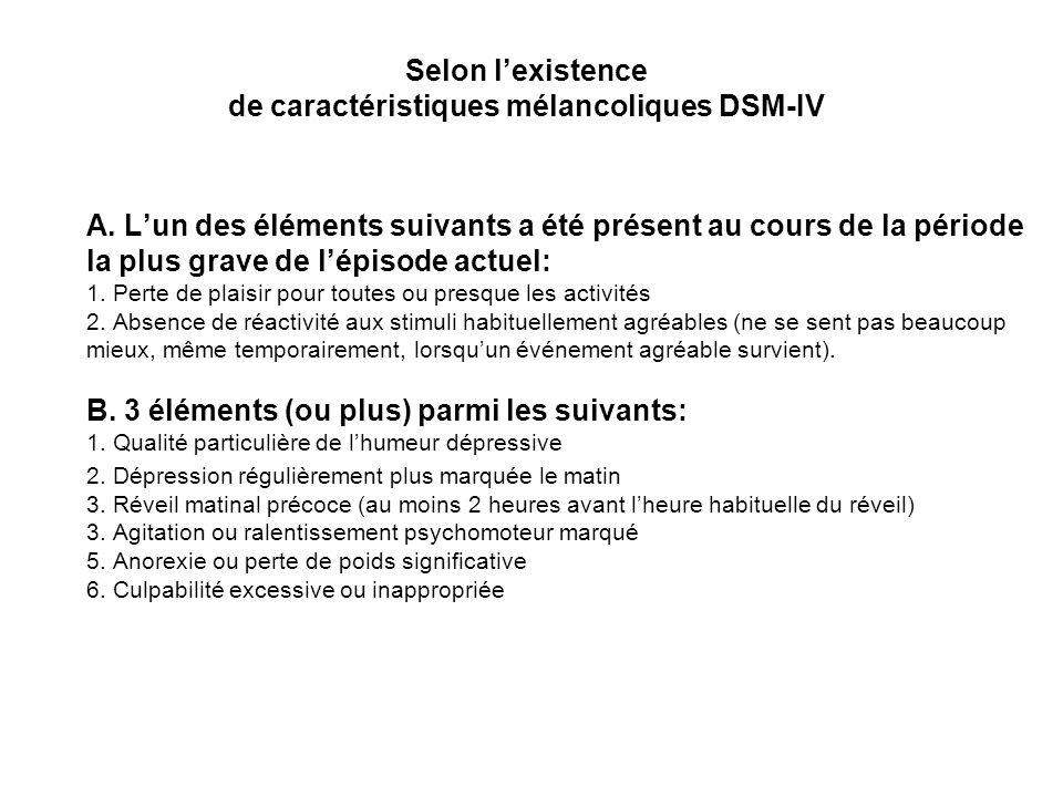 Selon lexistence de caractéristiques mélancoliques DSM-IV A. Lun des éléments suivants a été présent au cours de la période la plus grave de lépisode