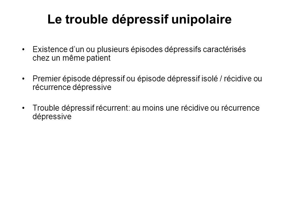 Le trouble dépressif unipolaire Existence dun ou plusieurs épisodes dépressifs caractérisés chez un même patient Premier épisode dépressif ou épisode