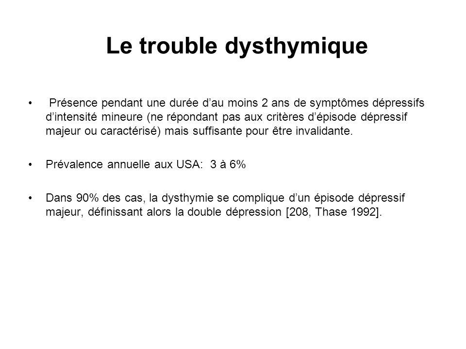 Le trouble dysthymique Présence pendant une durée dau moins 2 ans de symptômes dépressifs dintensité mineure (ne répondant pas aux critères dépisode d