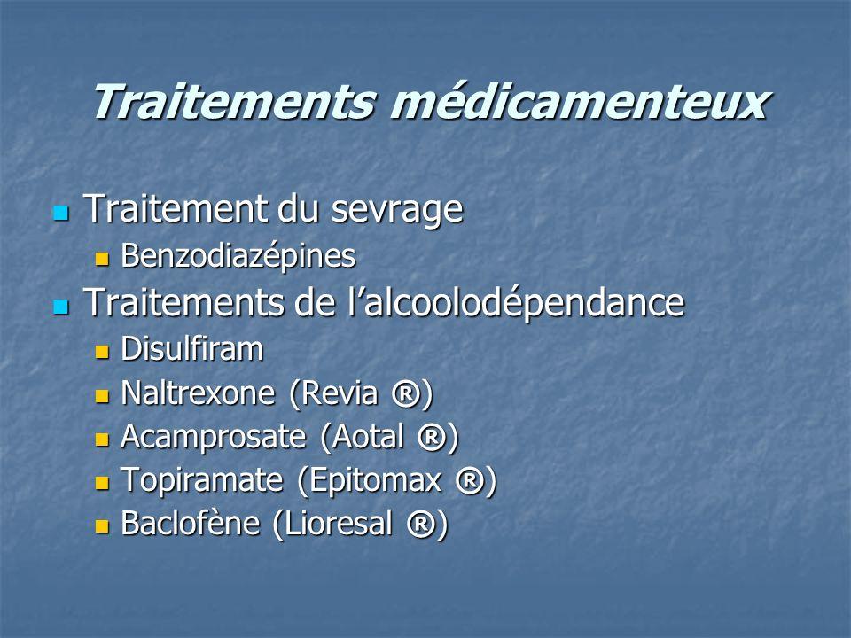 Traitements médicamenteux Traitement du sevrage Traitement du sevrage Benzodiazépines Benzodiazépines Traitements de lalcoolodépendance Traitements de