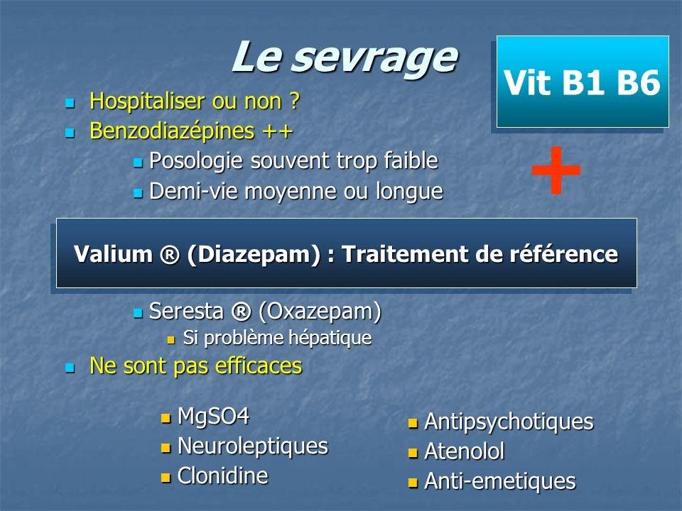Le sevrage Hospitaliser ou non ? Hospitaliser ou non ? Benzodiazépines ++ Benzodiazépines ++ Posologie souvent trop faible Posologie souvent trop faib