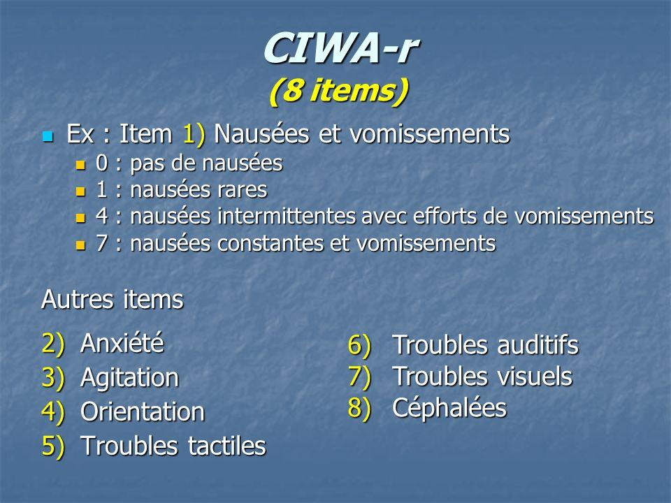 CIWA-r (8 items) 2)Anxiété 3)Agitation 4)Orientation 5)Troubles tactiles Ex : Item 1) Nausées et vomissements Ex : Item 1) Nausées et vomissements 0 :