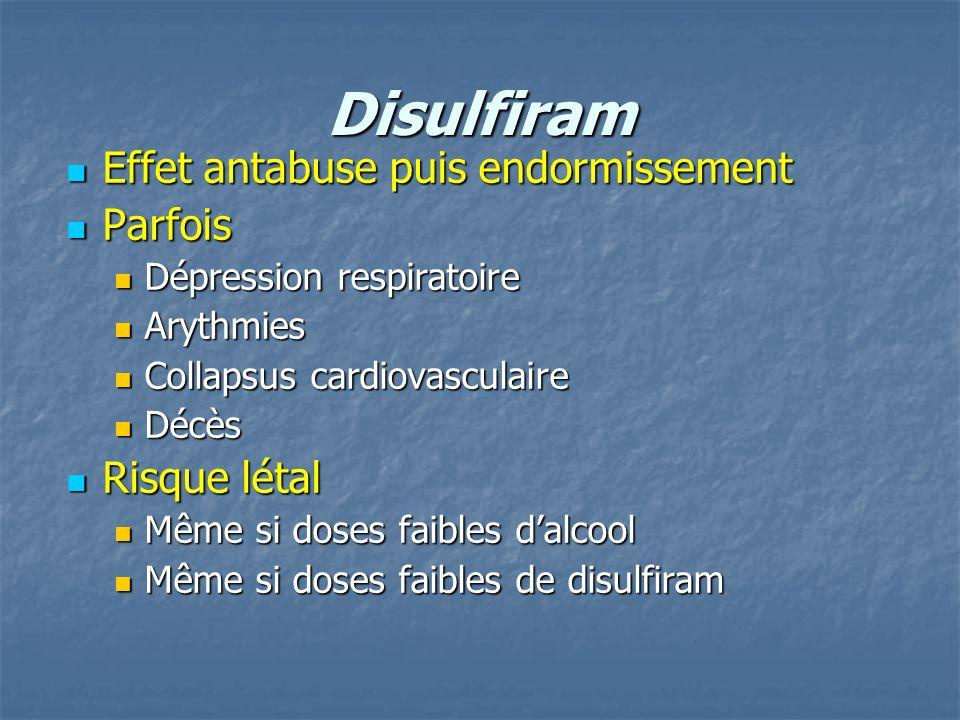 Disulfiram Effet antabuse puis endormissement Effet antabuse puis endormissement Parfois Parfois Dépression respiratoire Dépression respiratoire Aryth