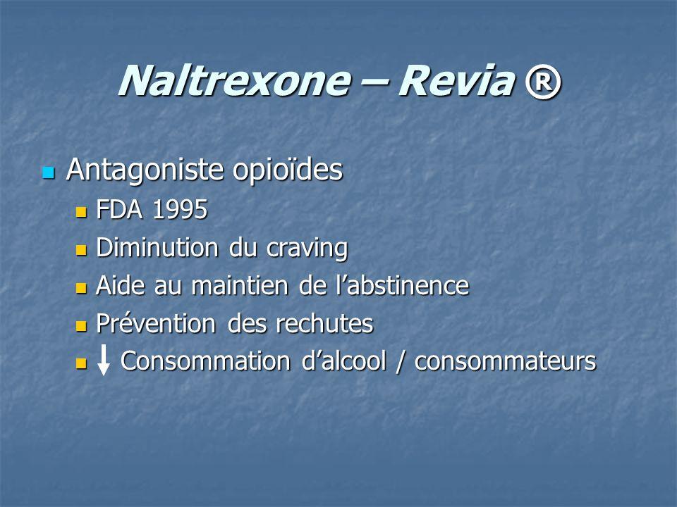 Naltrexone – Revia ® Antagoniste opioïdes Antagoniste opioïdes FDA 1995 FDA 1995 Diminution du craving Diminution du craving Aide au maintien de labst