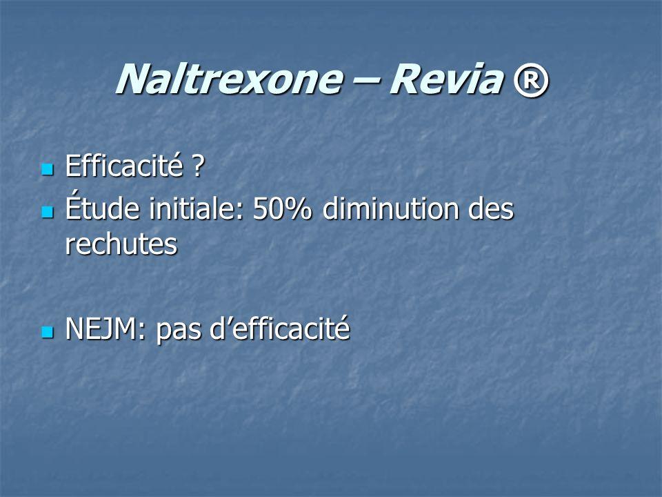 Naltrexone – Revia ® Efficacité ? Efficacité ? Étude initiale: 50% diminution des rechutes Étude initiale: 50% diminution des rechutes NEJM: pas deffi