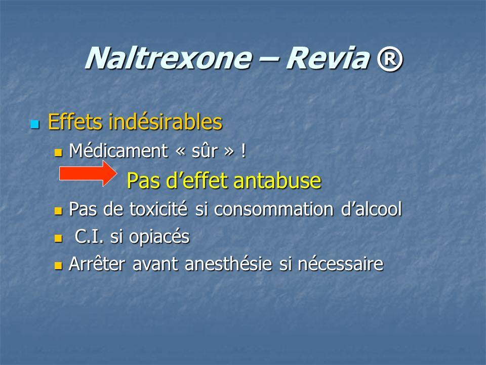 Naltrexone – Revia ® Effets indésirables Effets indésirables Médicament « sûr » ! Médicament « sûr » ! Pas deffet antabuse Pas de toxicité si consomma