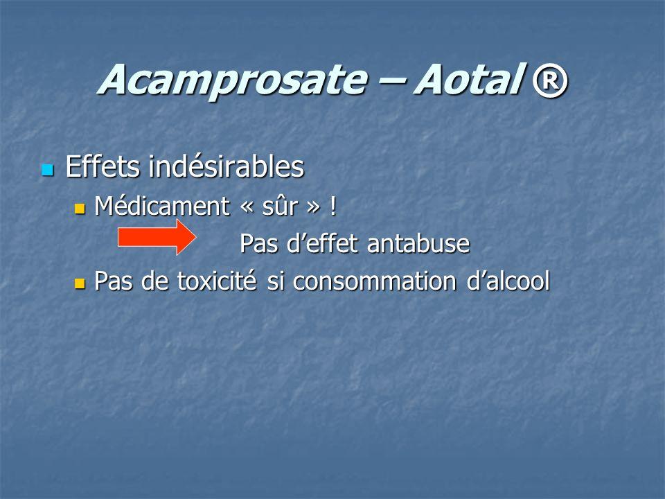 Acamprosate – Aotal ® Effets indésirables Effets indésirables Médicament « sûr » ! Médicament « sûr » ! Pas deffet antabuse Pas de toxicité si consomm