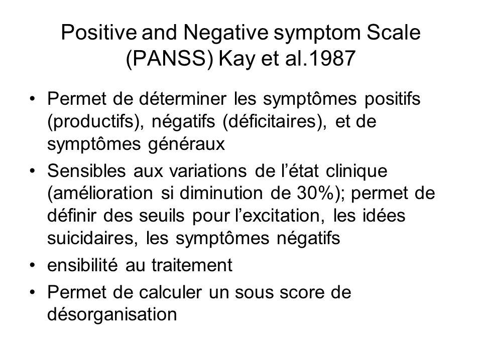 Positive and Negative symptom Scale (PANSS) Kay et al.1987 Permet de déterminer les symptômes positifs (productifs), négatifs (déficitaires), et de symptômes généraux Sensibles aux variations de létat clinique (amélioration si diminution de 30%); permet de définir des seuils pour lexcitation, les idées suicidaires, les symptômes négatifs ensibilité au traitement Permet de calculer un sous score de désorganisation