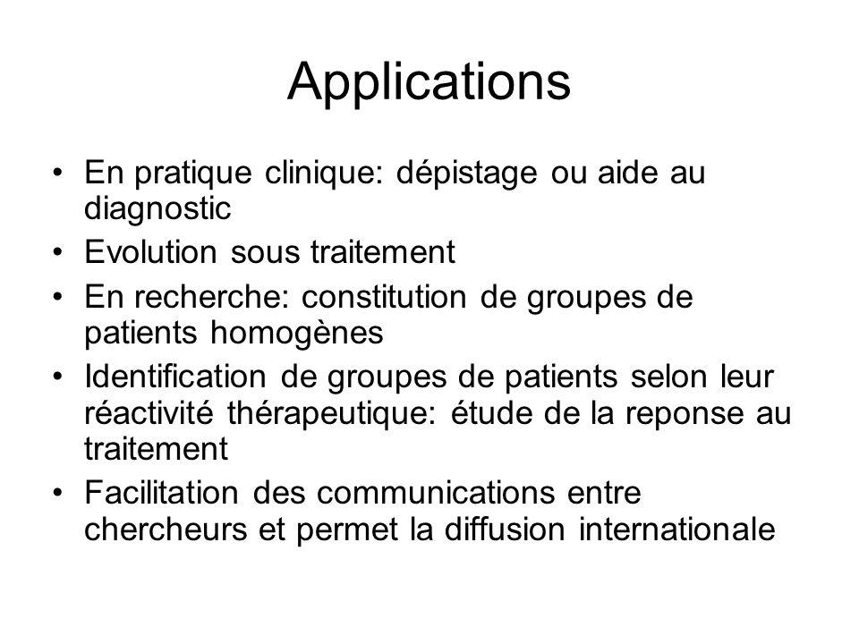 Applications En pratique clinique: dépistage ou aide au diagnostic Evolution sous traitement En recherche: constitution de groupes de patients homogèn