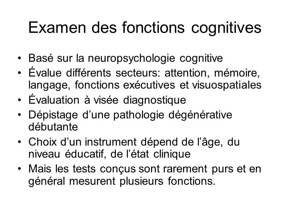 Examen des fonctions cognitives Basé sur la neuropsychologie cognitive Évalue différents secteurs: attention, mémoire, langage, fonctions exécutives e