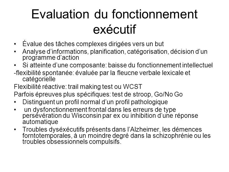 Evaluation du fonctionnement exécutif Évalue des tâches complexes dirigées vers un but Analyse dinformations, planification, catégorisation, décision