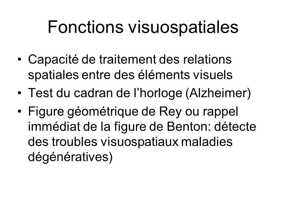 Fonctions visuospatiales Capacité de traitement des relations spatiales entre des éléments visuels Test du cadran de lhorloge (Alzheimer) Figure géométrique de Rey ou rappel immédiat de la figure de Benton: détecte des troubles visuospatiaux maladies dégénératives)