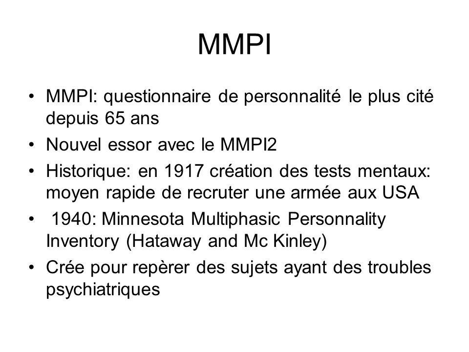 MMPI MMPI: questionnaire de personnalité le plus cité depuis 65 ans Nouvel essor avec le MMPI2 Historique: en 1917 création des tests mentaux: moyen r