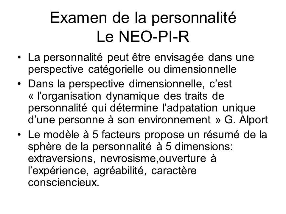 Examen de la personnalité Le NEO-PI-R La personnalité peut être envisagée dans une perspective catégorielle ou dimensionnelle Dans la perspective dimensionnelle, cest « lorganisation dynamique des traits de personnalité qui détermine ladpatation unique dune personne à son environnement » G.