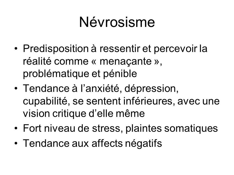Névrosisme Predisposition à ressentir et percevoir la réalité comme « menaçante », problématique et pénible Tendance à lanxiété, dépression, cupabilit