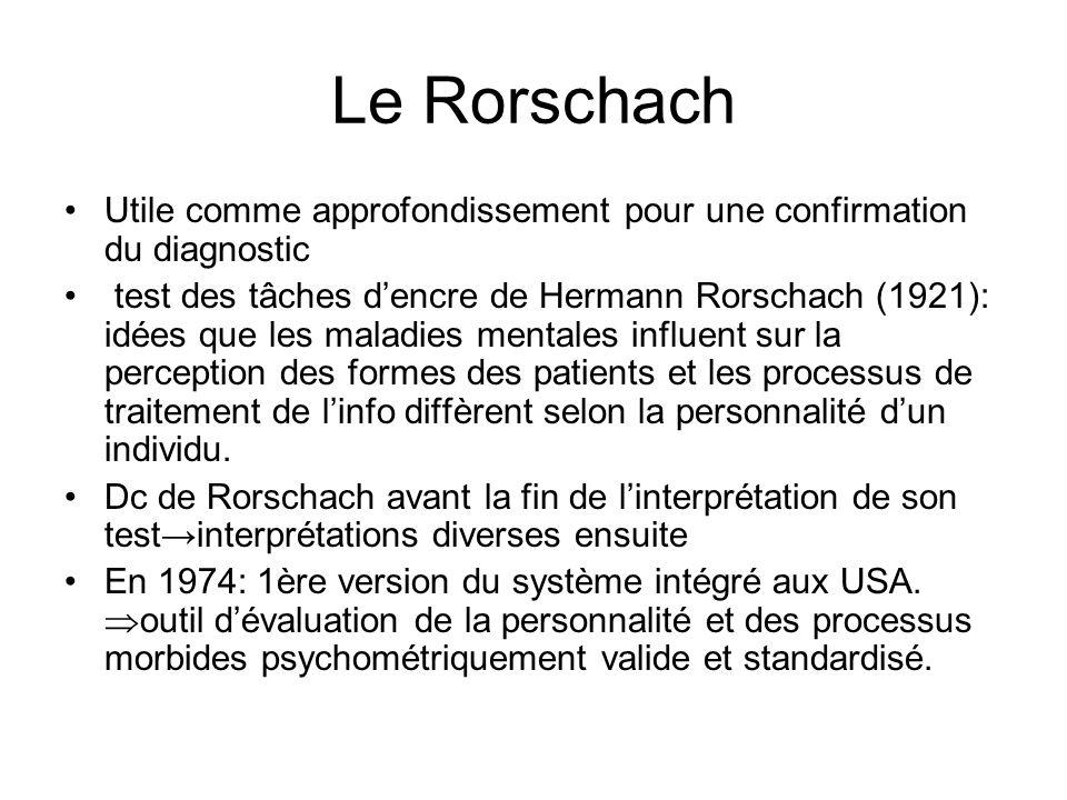 Le Rorschach Utile comme approfondissement pour une confirmation du diagnostic test des tâches dencre de Hermann Rorschach (1921): idées que les maladies mentales influent sur la perception des formes des patients et les processus de traitement de linfo diffèrent selon la personnalité dun individu.