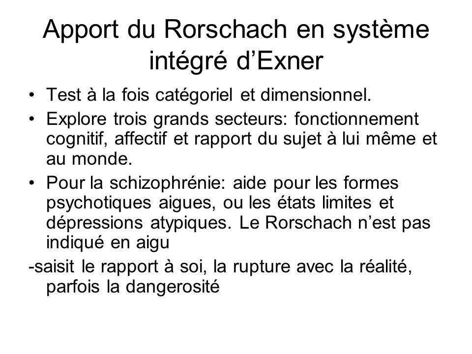 Apport du Rorschach en système intégré dExner Test à la fois catégoriel et dimensionnel. Explore trois grands secteurs: fonctionnement cognitif, affec