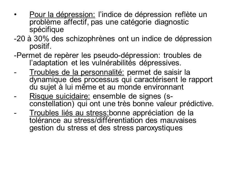 Pour la dépression: lindice de dépression reflète un problème affectif, pas une catégorie diagnostic spécifique -20 à 30% des schizophrènes ont un indice de dépression positif.