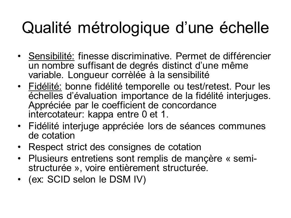Qualité métrologique dune échelle (2) Validité: qualité la plus complexe à étudier Instrument valide sil mesure ce quil est censé mesurer.
