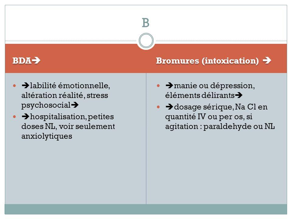 BDA Bromures (intoxication) labilité émotionnelle, altération réalité, stress psychosocial hospitalisation, petites doses NL, voir seulement anxiolyti