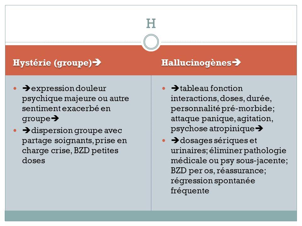 Hystérie (groupe) Hallucinogènes expression douleur psychique majeure ou autre sentiment exacerbé en groupe dispersion groupe avec partage soignants,